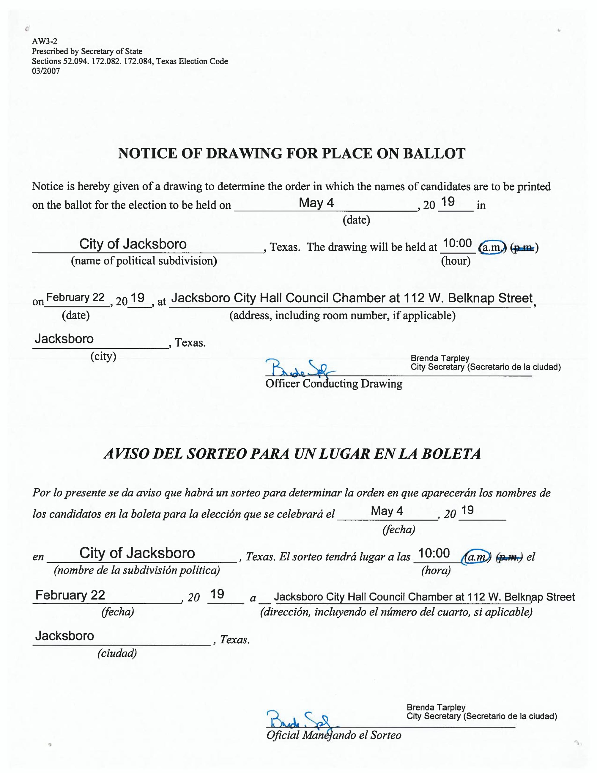 Notice For Drawing For Place On 5-4-2019 Ballot