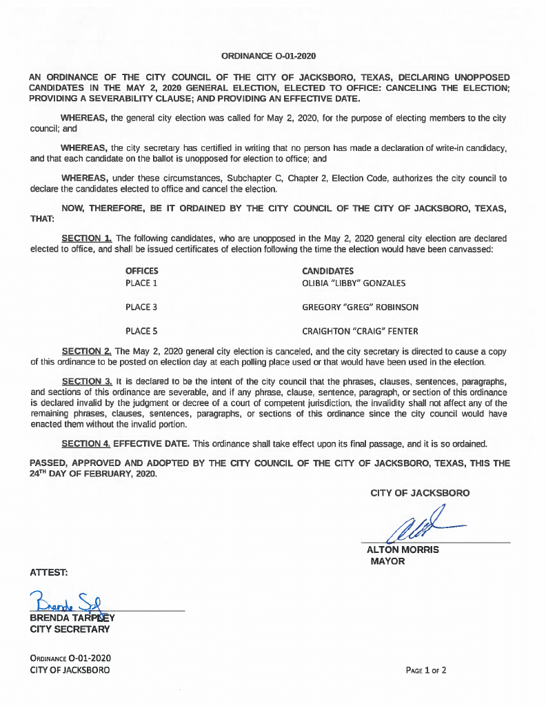 Cancellation of May 2, 2020 Election O-01-2020 Page 1
