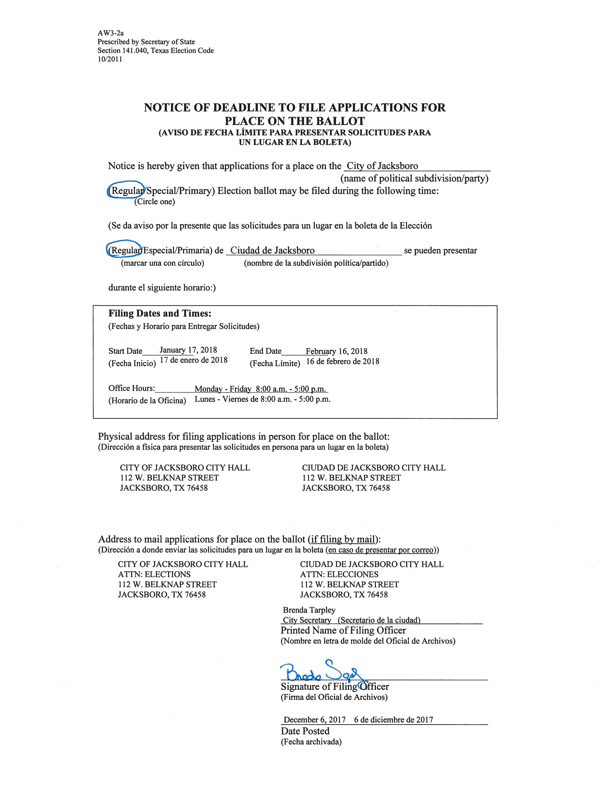 2018 Notice of Deadline to File for Place on Ballot